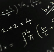 Did God design the laws of the universe - Photo of mathematical equations on a blackboard to illustrate the mathematical consistency of natural laws.