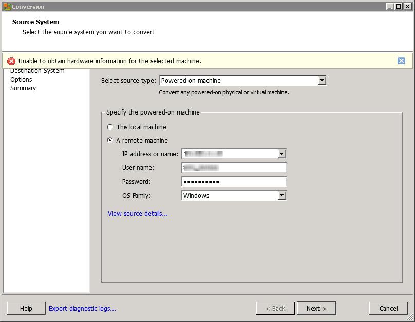 VMware Converter 5 Error – No Source Disk – Everything-Virtual