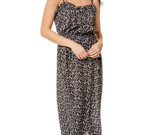 Soleil Wrap Maxi Dress Black White