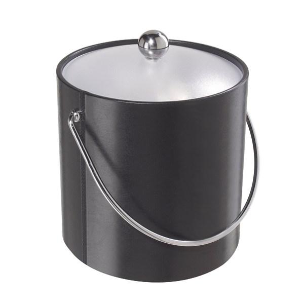 Vinyl Ice Bucket With Clear Acrylic Lid - Black