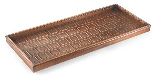 Embossed Squares Copper Finished Boot Tray - 34 X 14 2.5