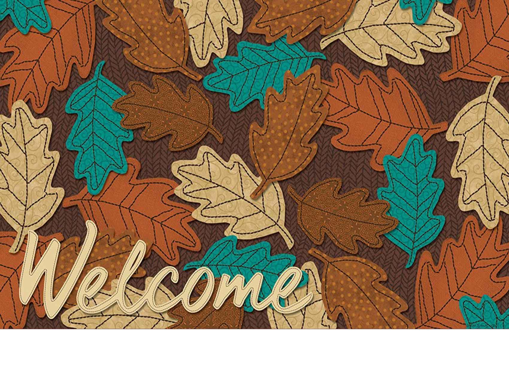 Indoor  Outdoor Welcome Fall Leaves Insert Doormat  18x30