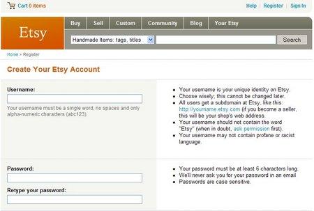 Create You Etsy Account Screen