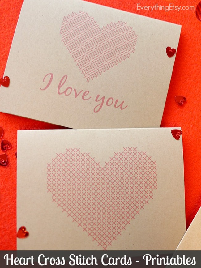 heart cross stitch cards
