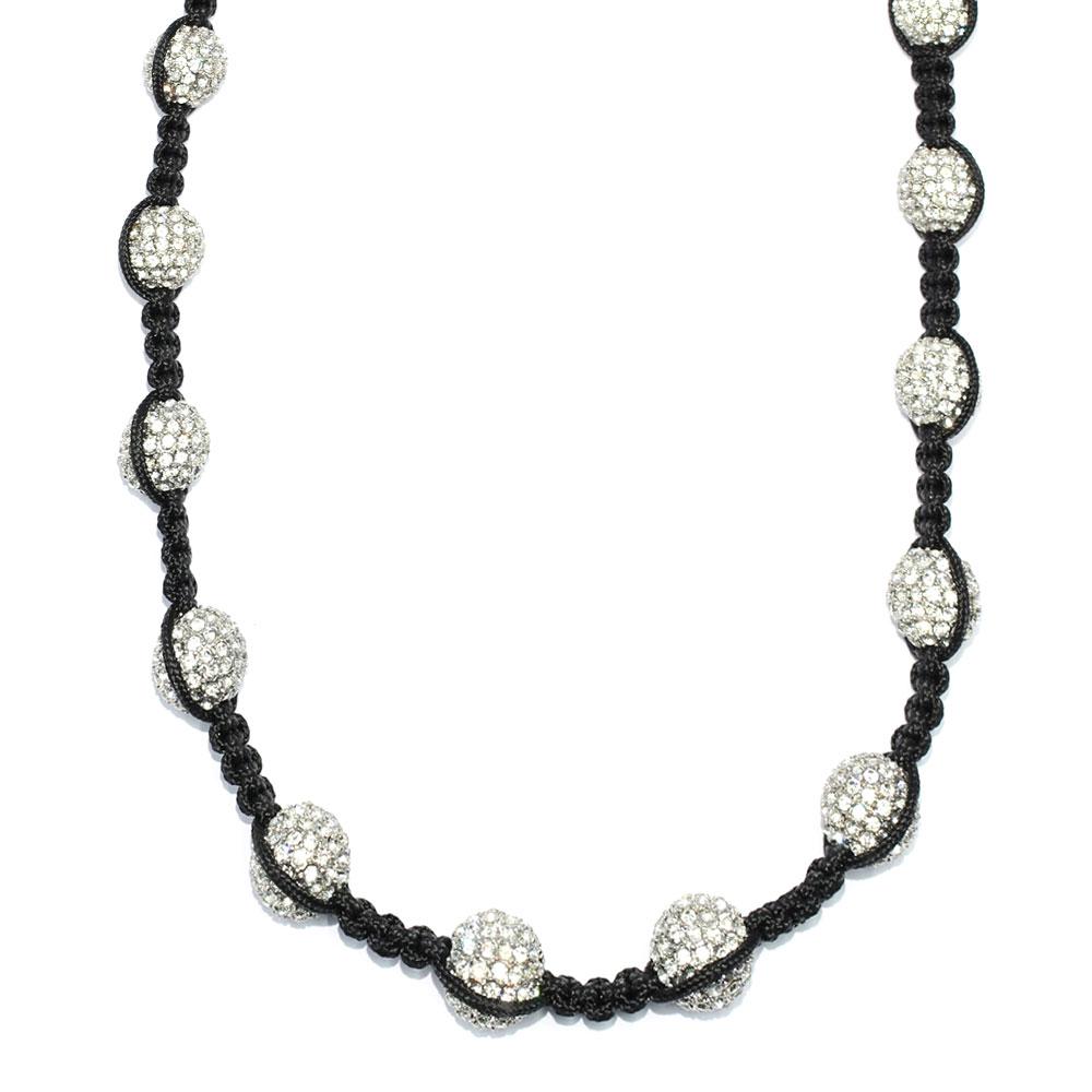 Shamballa style Necklace 12mm Pave Crystal Disco Balls