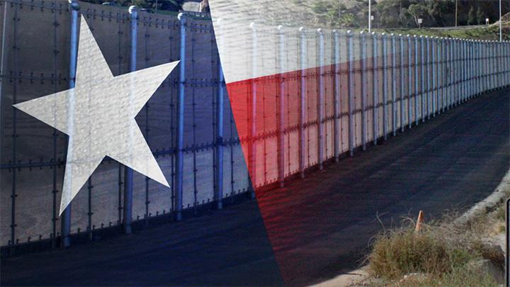Border Fence With Texas Flag, Texas Border Fence - 720