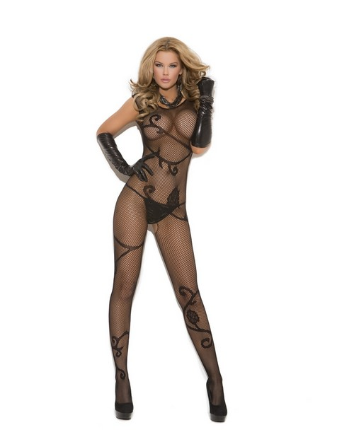 fishnet bodystocking w/scroll pattern