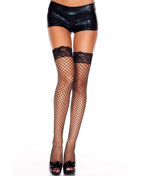 Thigh High Fishnet w/Lace Top