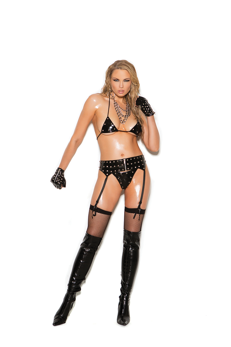 Black Studded Garter Belt