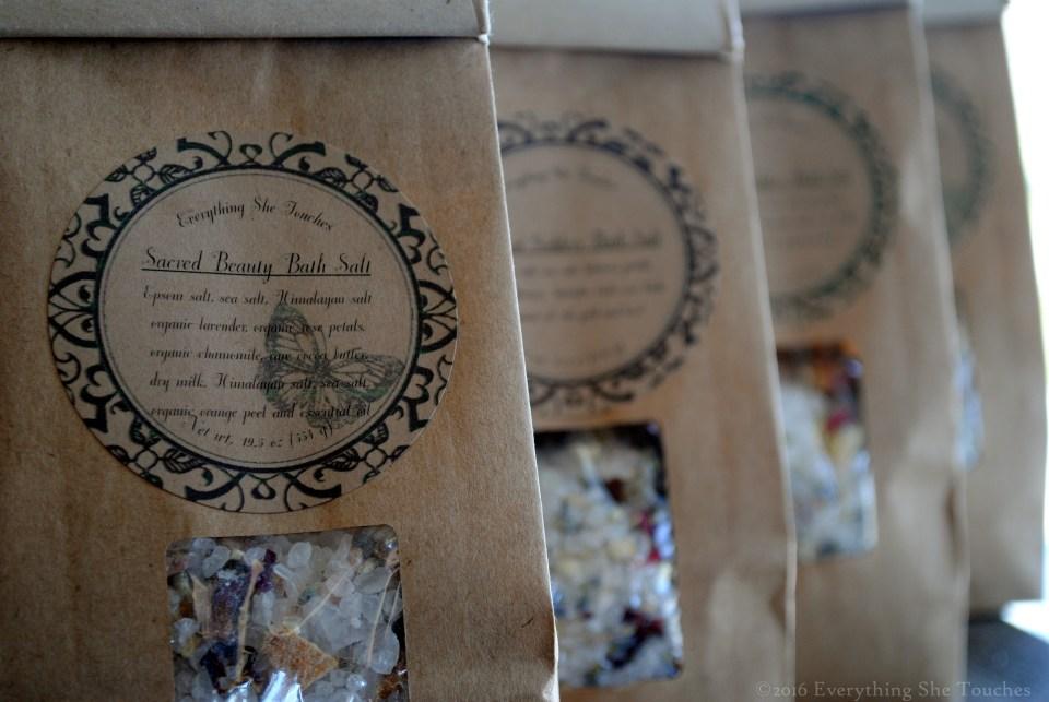 sacred beauty, Everything She Touches, bath salt, bath herbs bath soak, bath and beauty, handmade cosmetics