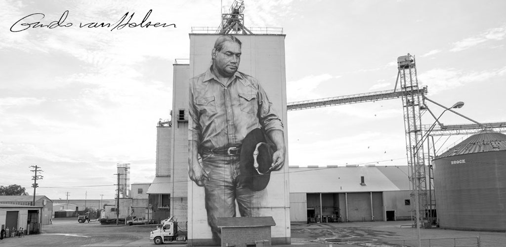 LIVE Camera Feed: Artist Guido van Helten will be creating a mural on the Agtegra grain elevator in Faulkton