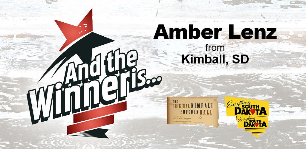 Amber Lenz from Kimball, South Dakota is our October Kimball Popcorn Ball Winner!