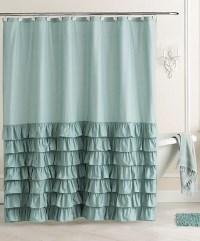 Ella Ruffle Fabric Shower Curtain | Everything Turquoise