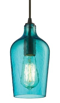 Hammered Aqua Glass Mini Pendant   Everything Turquoise
