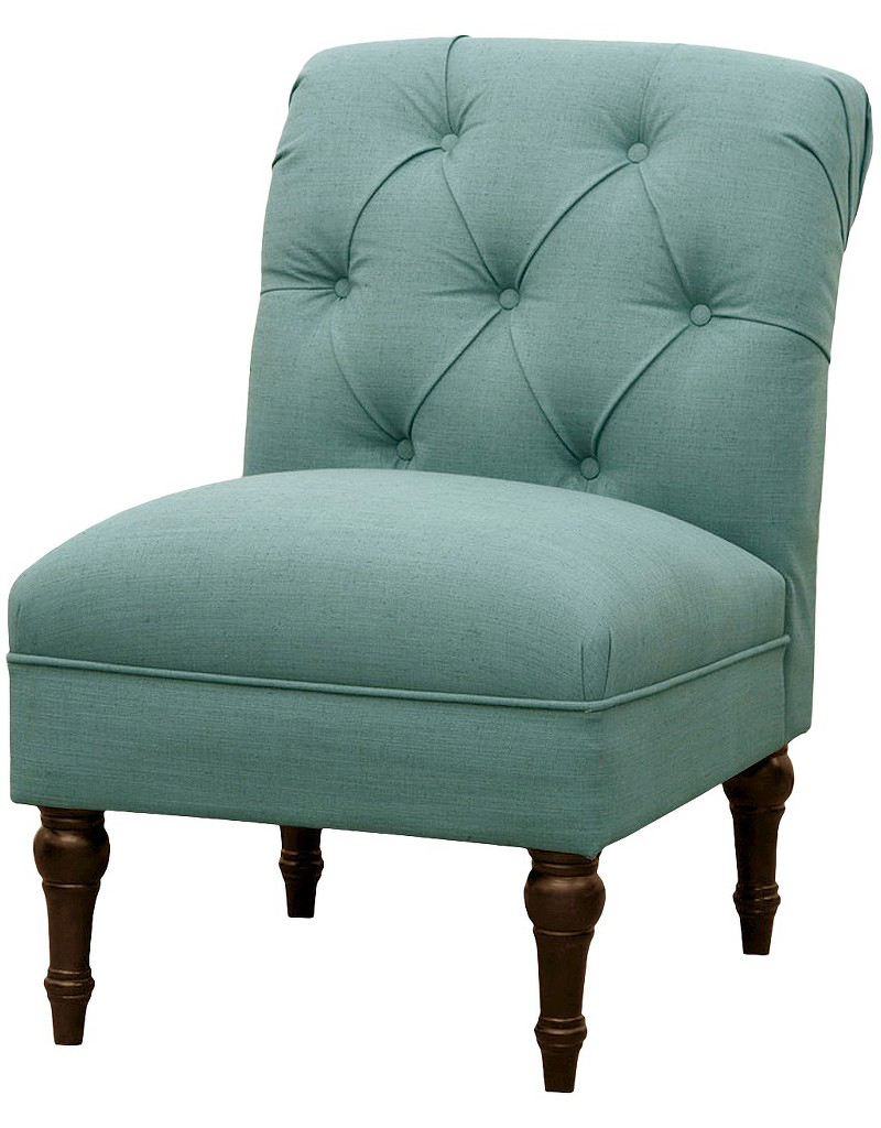 Tufted Back Slipper Chair in Teal  Everything Turquoise