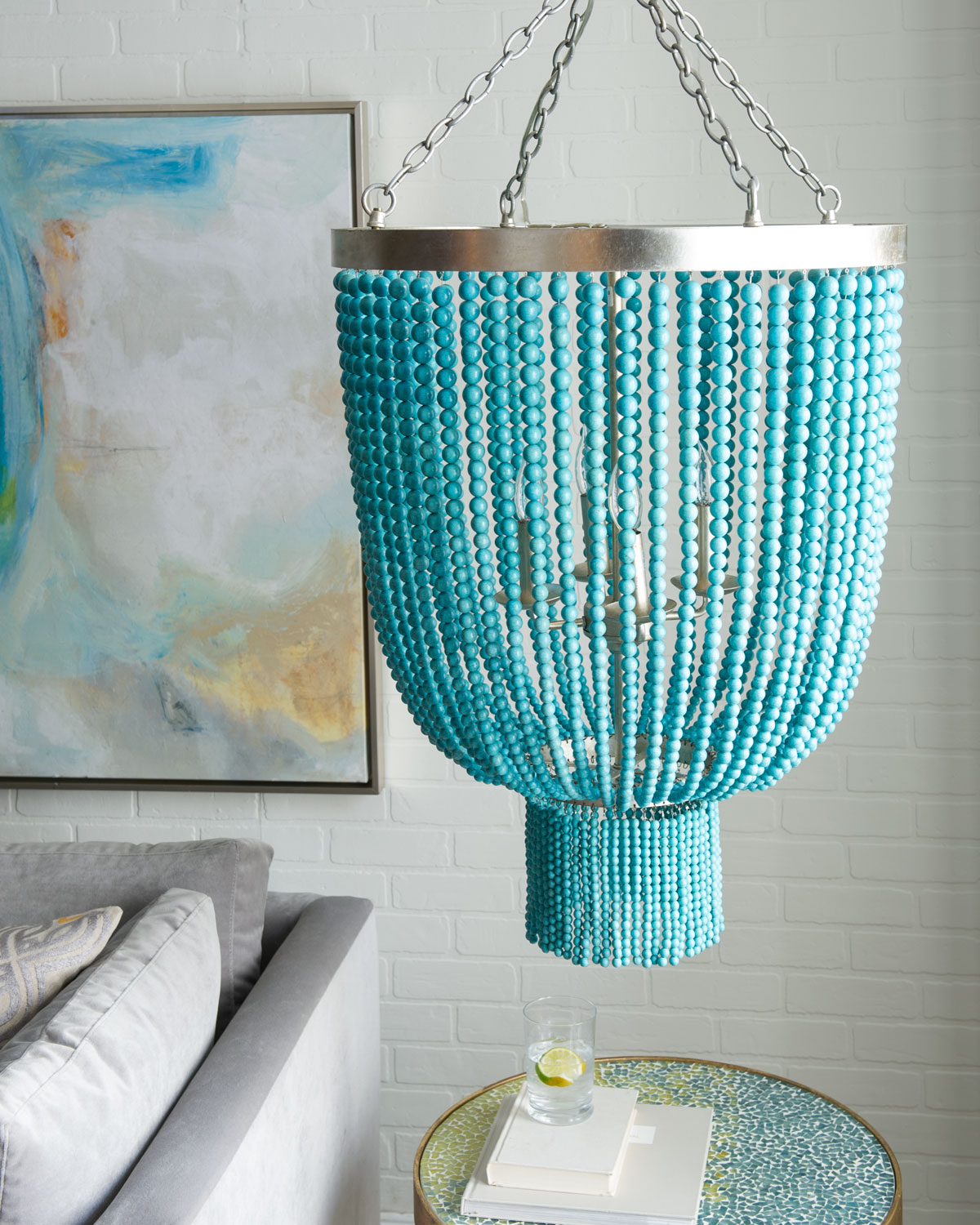 Things To Remember While Buying A Chandelier: Turquoise-Bead 4-Light Chandelier