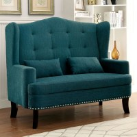 Teal Lakewood Wingback Loveseat Chair   Everything Turquoise