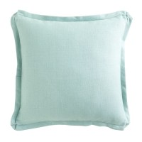 Aqua Flanged European Flax Linen Pillow Cover | Everything ...