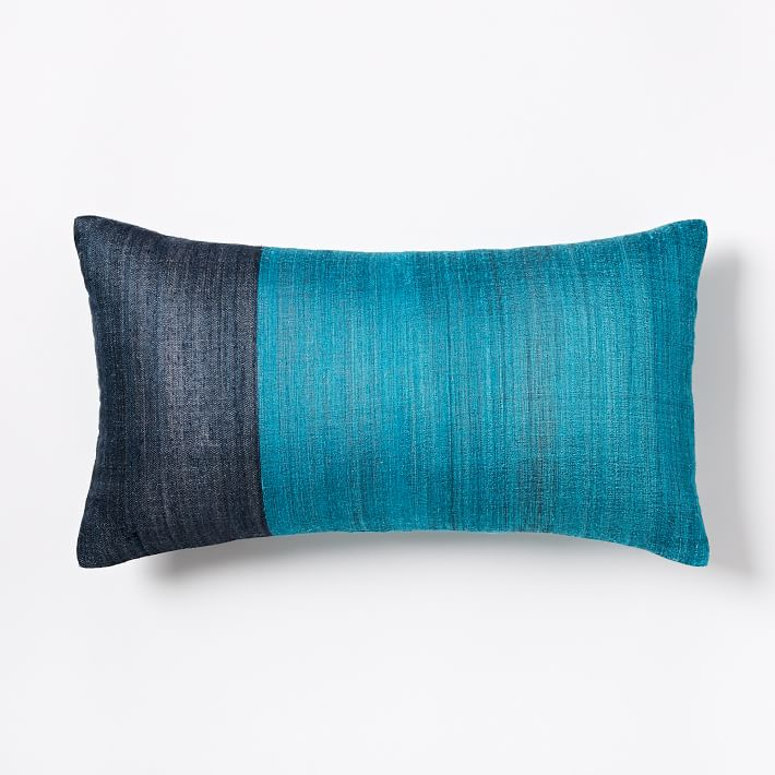 Blue Teal Sari Silk Pillow Cover