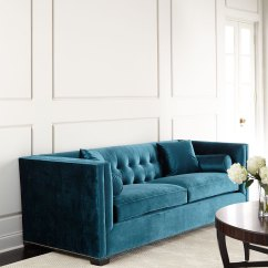 Tufted Turquoise Sofa Gray Leather Modern Jade Everything
