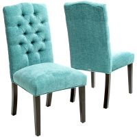 Turquoise Macie Set of 2 Tufted Parsons Dining Chairs ...