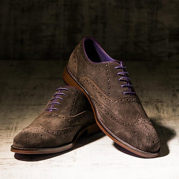 Brown Suede Italian Leather Brogue - Meteor 4