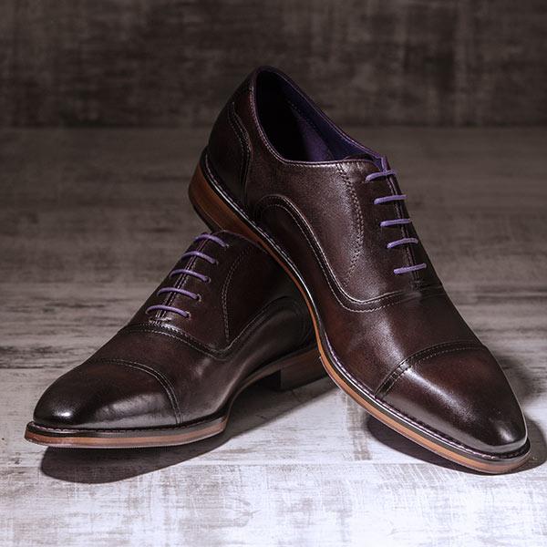Dark Brown Italian Leather Oxford - Falcon 3