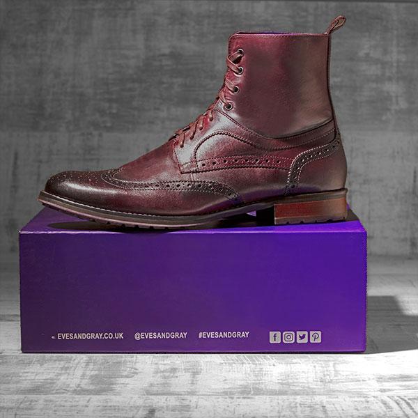 Burnished OxBlood Italian Leather Brogue Boot - Bearcat 1