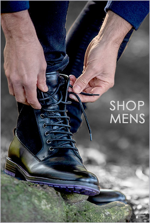 Mens Black Leather Suede-Fur-Lined Boot Maxamillion 500x742