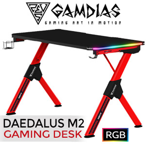 Gamdias Daedalus M2 RGB Gaming Desk - Black/Red / A Remote Control / Two RGB Light strips / Cable Management / Power Strip Holder / Carbon Fiber Surface / Steel Frame Construction / DAEDALUSM2