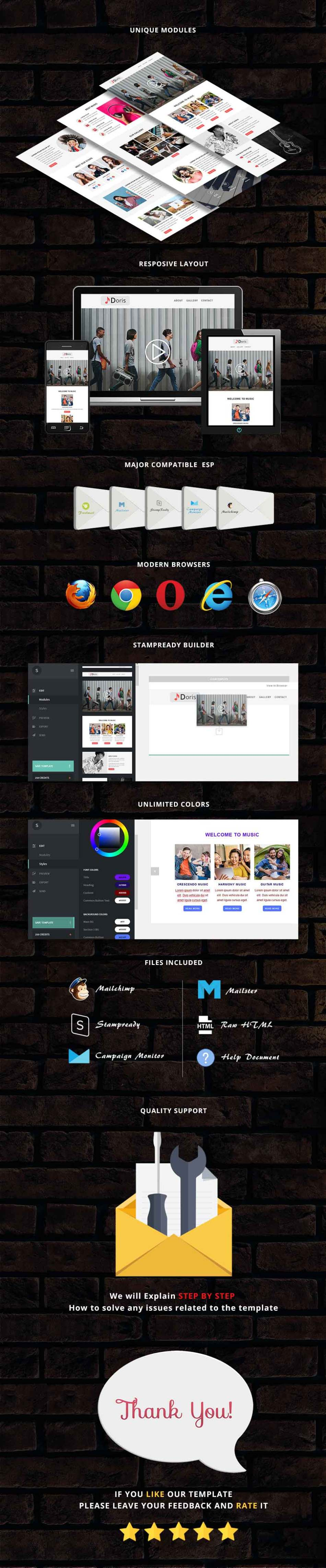 Doris - Responsive Email Template + Stampready Builder