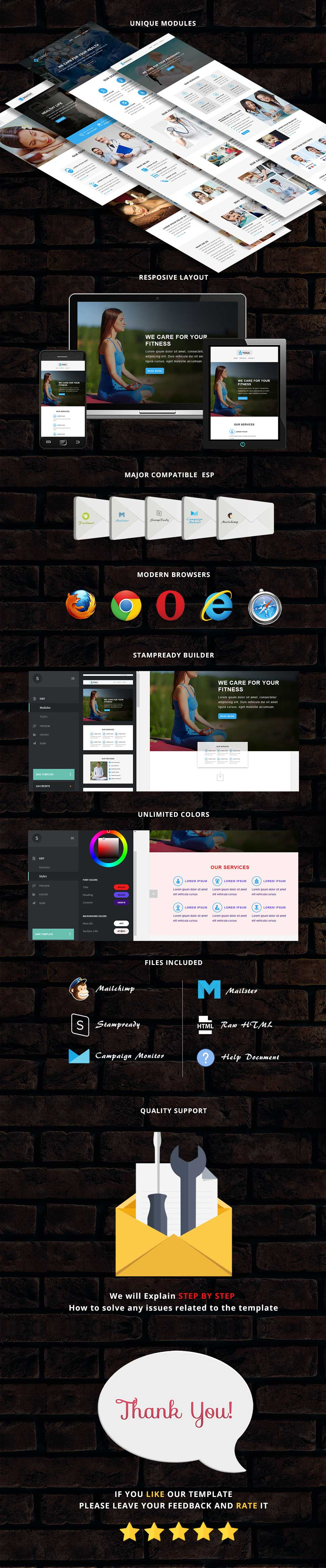 Health - Responsive Email Template + Stampready Builder