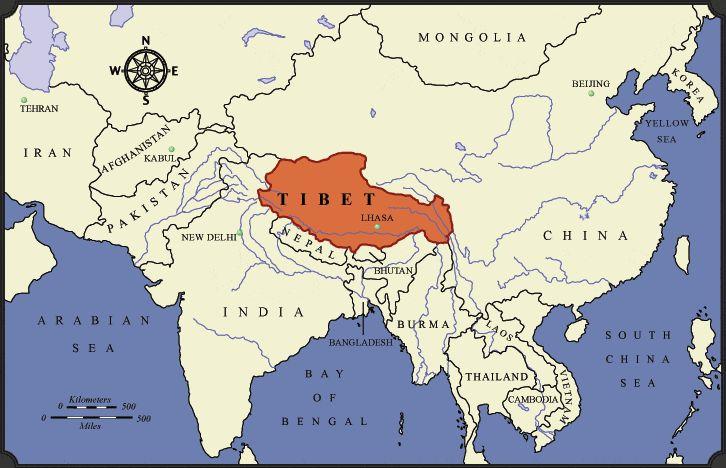 Plateau Of Tibet On Map Of Asia.Tibetan Map Plateau Asia