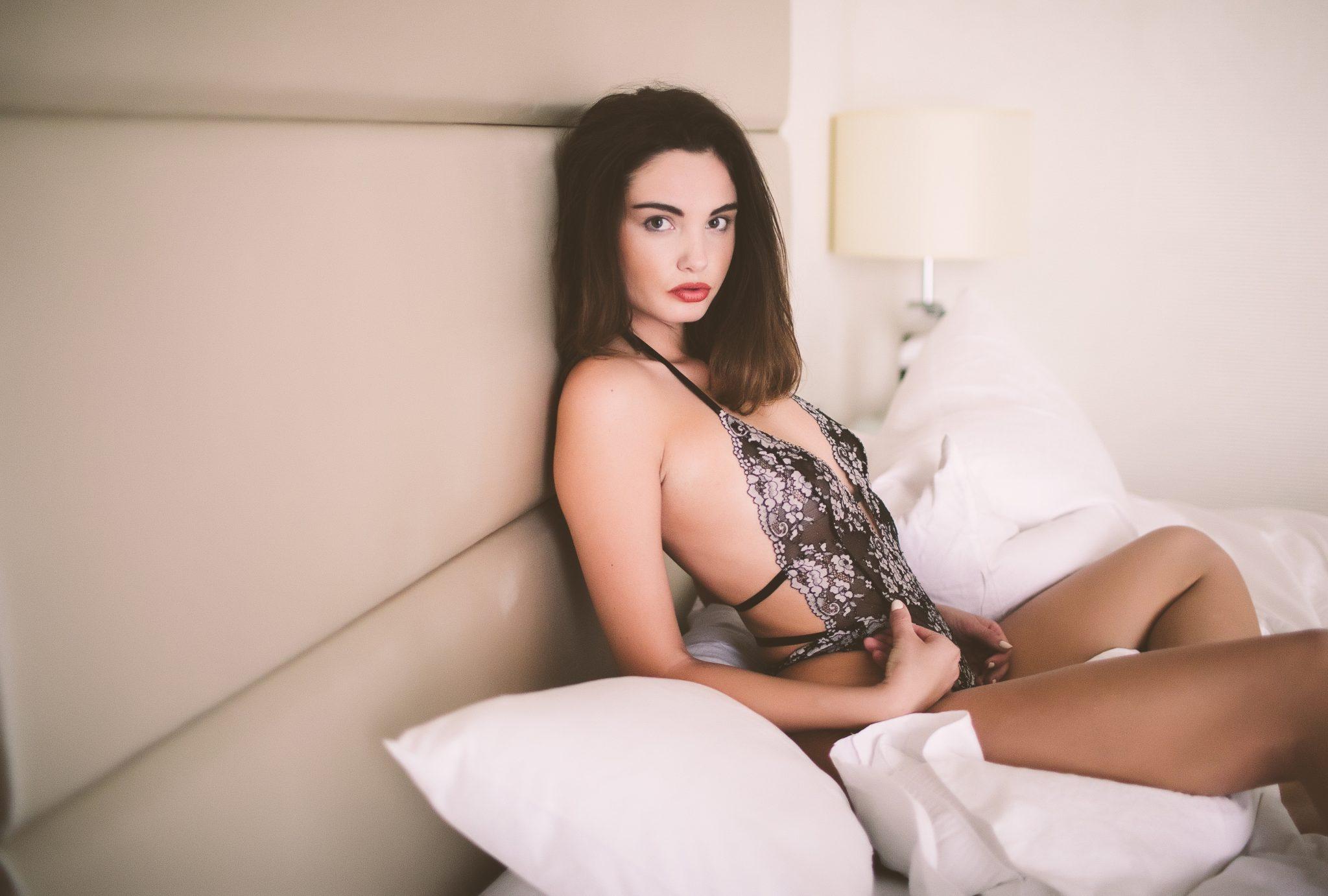 A serious shot at a sensual photo session
