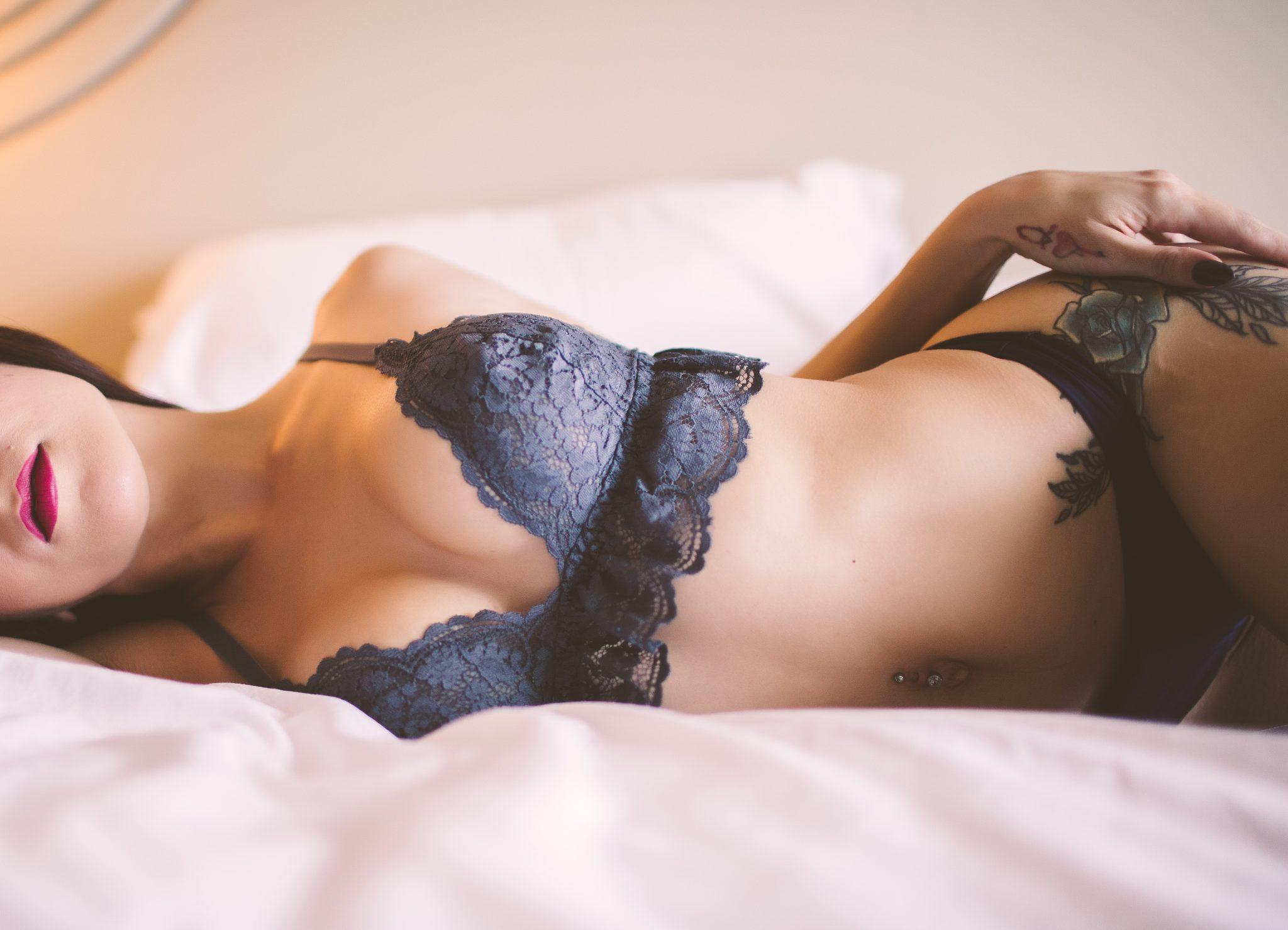 Tattooed model wearing sexy lingerie