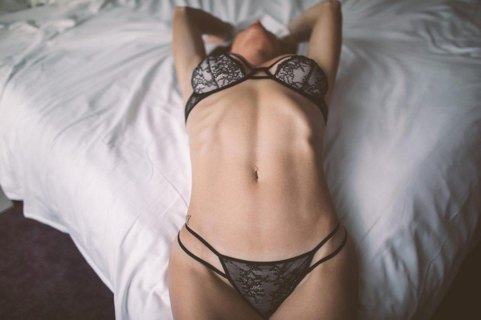 Model wearing lingerie at a boudoir shoot