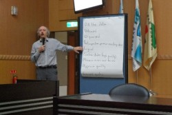 Mike Clarke presenting
