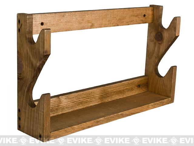 evans sports traditional solid wood rifle gun rack capacity 2 long guns