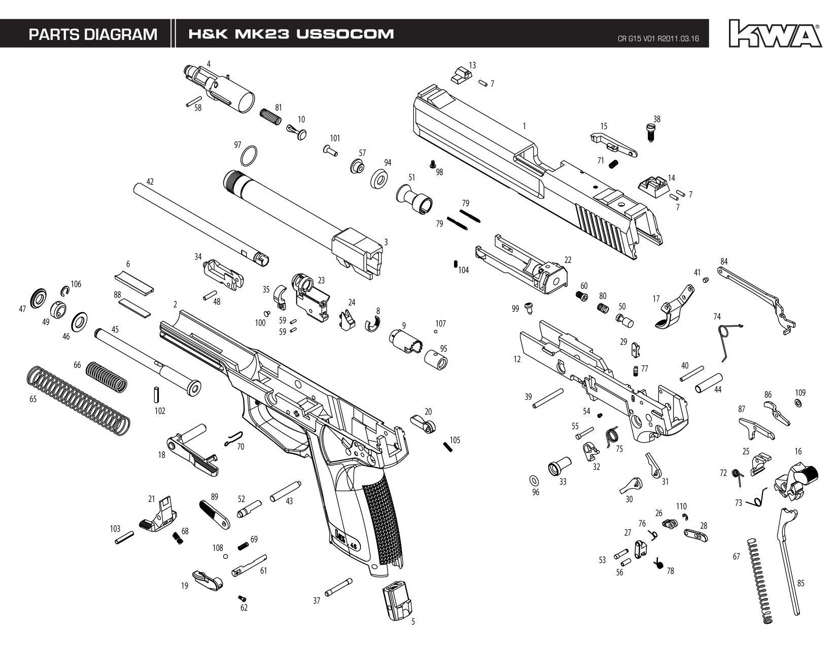 z Heckler & Koch / Umarex Full Metal USP Mk23 SOCOM NS2