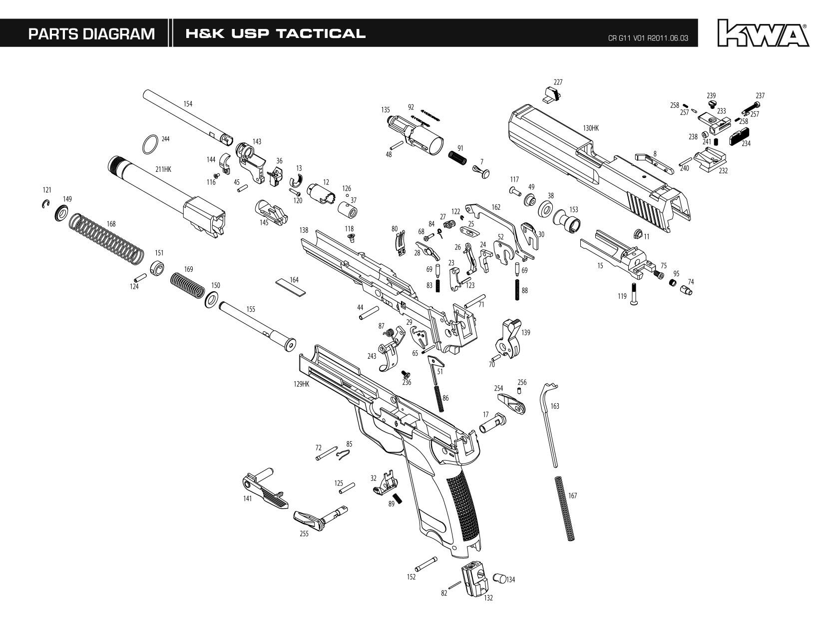 parts explosion diagram pioneer avh p1400dvd wiring z heckler & koch / umarex full metal usp tactical ns2 airsoft gas blowback gun by kwa (threaded ...