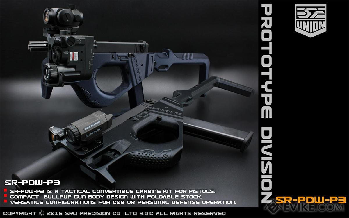 hight resolution of sru 3d printed pdw gas blowback pistol carbine color black airsoft guns gas airsoft pistols we cqb master evike com airsoft superstore