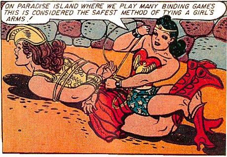 Wonder Woman presenting a workshop on bondage safety