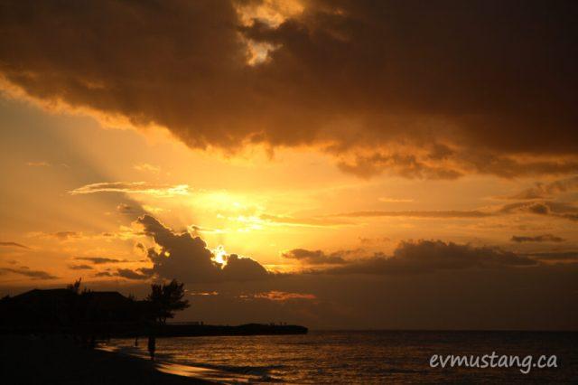 image of amber sunset over Cuban beach