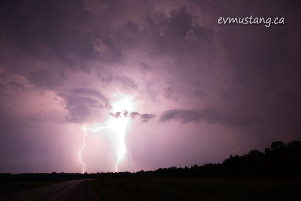image of lightning strike at night with blown highlights