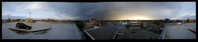 panoramic image of Peterborough during a storm