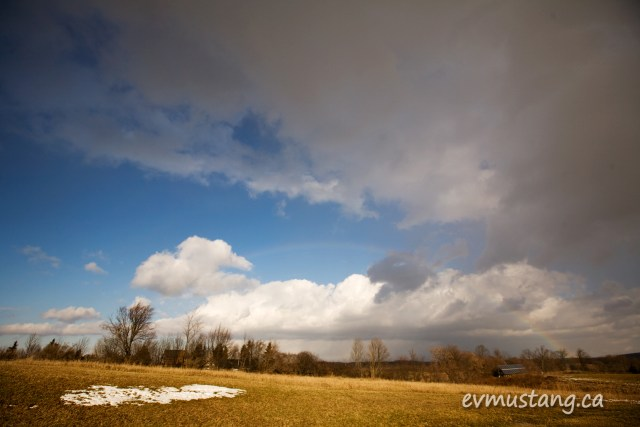 image of rainbow in winter