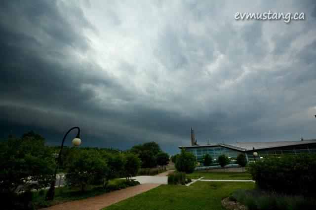 image of Trent University under a big storm