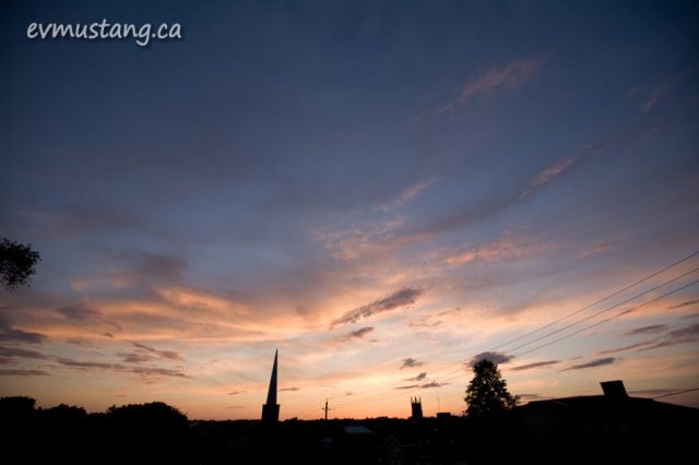 image of sunset over Peterborough taken from the court house steps
