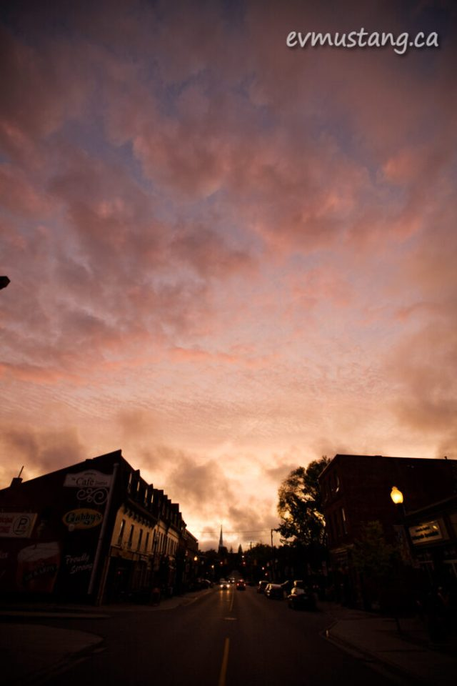 image of a dramatic sunset over Hunter Street, Peterborough