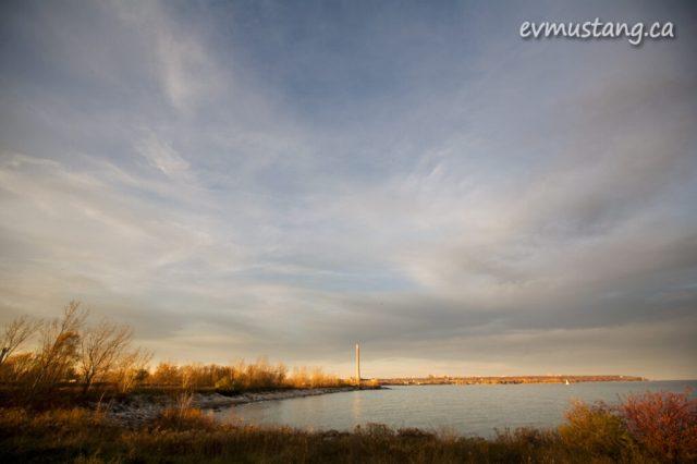 image of sunset lighting ashbridge's bay